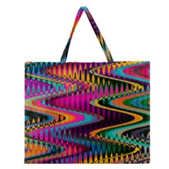 Multicolored Wave Distortion Zigzag Chevrons Zipper Large Tote Bag by EDDArt