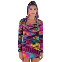 Multicolored Wave Distortion Zigzag Chevrons Long Sleeve Hooded T-shirt by EDDArt