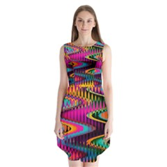 Multicolored Wave Distortion Zigzag Chevrons Sleeveless Chiffon Dress   by EDDArt