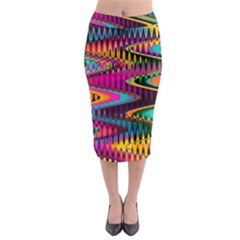 Multicolored Wave Distortion Zigzag Chevrons Midi Pencil Skirt by EDDArt