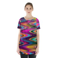 Multicolored Wave Distortion Zigzag Chevrons Skirt Hem Sports Top by EDDArt