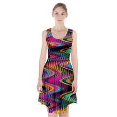 Multicolored Wave Distortion Zigzag Chevrons Racerback Midi Dress by EDDArt