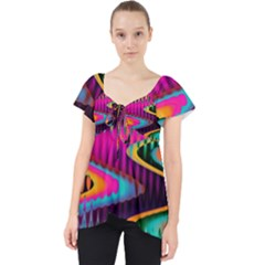 Multicolored Wave Distortion Zigzag Chevrons Lace Front Dolly Top by EDDArt