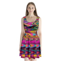 Multicolored Wave Distortion Zigzag Chevrons Split Back Mini Dress  by EDDArt