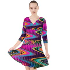 Multicolored Wave Distortion Zigzag Chevrons Quarter Sleeve Front Wrap Dress by EDDArt
