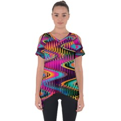 Multicolored Wave Distortion Zigzag Chevrons Cut Out Side Drop Tee by EDDArt