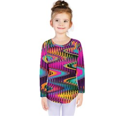 Multicolored Wave Distortion Zigzag Chevrons Kids  Long Sleeve Tee by EDDArt