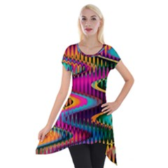 Multicolored Wave Distortion Zigzag Chevrons Short Sleeve Side Drop Tunic by EDDArt
