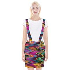 Multicolored Wave Distortion Zigzag Chevrons Braces Suspender Skirt by EDDArt