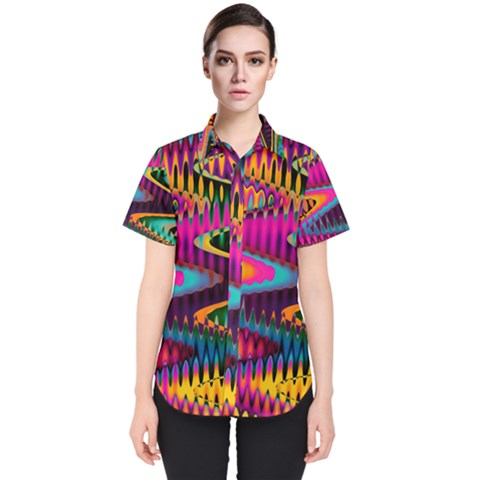 Multicolored Wave Distortion Zigzag Chevrons Women s Short Sleeve Shirt by EDDArt