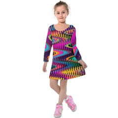 Multicolored Wave Distortion Zigzag Chevrons Kids  Long Sleeve Velvet Dress by EDDArt