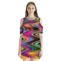 Multicolored Wave Distortion Zigzag Chevrons Shoulder Cutout Velvet One Piece by EDDArt