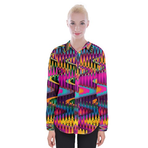 Multicolored Wave Distortion Zigzag Chevrons Womens Long Sleeve Shirt by EDDArt