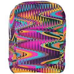 Multicolored Wave Distortion Zigzag Chevrons Full Print Backpack by EDDArt