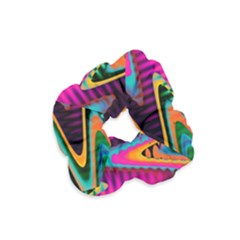 Multicolored Wave Distortion Zigzag Chevrons Velvet Scrunchie by EDDArt
