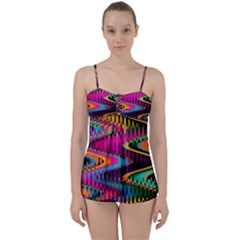Multicolored Wave Distortion Zigzag Chevrons Babydoll Tankini Set by EDDArt