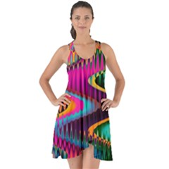 Multicolored Wave Distortion Zigzag Chevrons Show Some Back Chiffon Dress by EDDArt