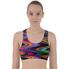 Multicolored Wave Distortion Zigzag Chevrons Back Weave Sports Bra by EDDArt