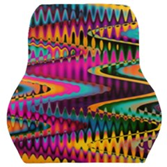 Multicolored Wave Distortion Zigzag Chevrons Car Seat Back Cushion  by EDDArt