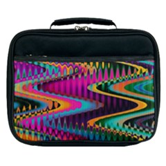 Multicolored Wave Distortion Zigzag Chevrons Lunch Bag by EDDArt
