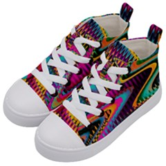Multicolored Wave Distortion Zigzag Chevrons Kid s Mid Top Canvas Sneakers by EDDArt