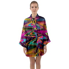 Multicolored Wave Distortion Zigzag Chevrons Long Sleeve Kimono Robe by EDDArt
