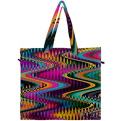 Multicolored Wave Distortion Zigzag Chevrons Canvas Travel Bag by EDDArt