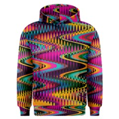 Multicolored Wave Distortion Zigzag Chevrons Men s Overhead Hoodie by EDDArt