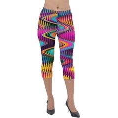 Multicolored Wave Distortion Zigzag Chevrons Lightweight Velour Capri Leggings  by EDDArt