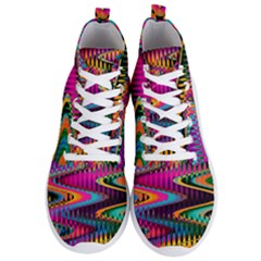 Multicolored Wave Distortion Zigzag Chevrons Men s Lightweight High Top Sneakers by EDDArt