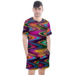 Multicolored Wave Distortion Zigzag Chevrons Men s Mesh Tee And Shorts Set by EDDArt