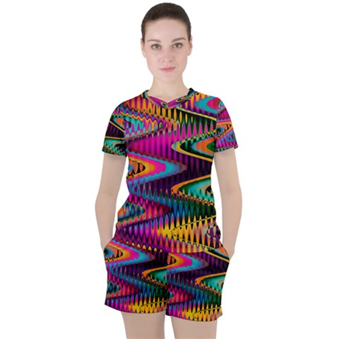 Multicolored Wave Distortion Zigzag Chevrons Women s Tee And Shorts Set by EDDArt