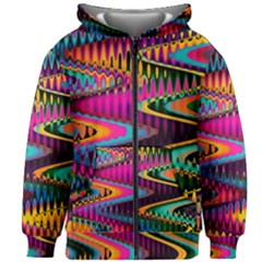 Multicolored Wave Distortion Zigzag Chevrons Kids Zipper Hoodie Without Drawstring by EDDArt