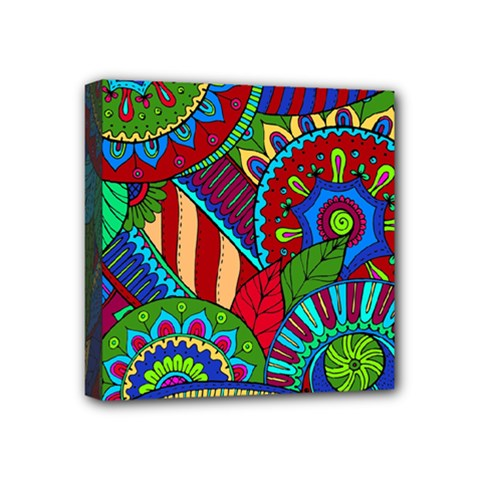 Pop Art Paisley Flowers Ornaments Multicolored 2 Mini Canvas 4  X 4  by EDDArt