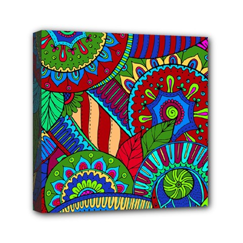 Pop Art Paisley Flowers Ornaments Multicolored 2 Mini Canvas 6  X 6  by EDDArt
