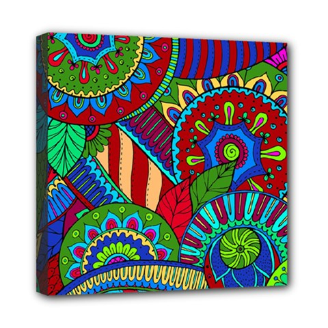 Pop Art Paisley Flowers Ornaments Multicolored 2 Mini Canvas 8  X 8  by EDDArt