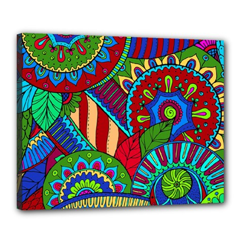 Pop Art Paisley Flowers Ornaments Multicolored 2 Canvas 20  X 16  by EDDArt