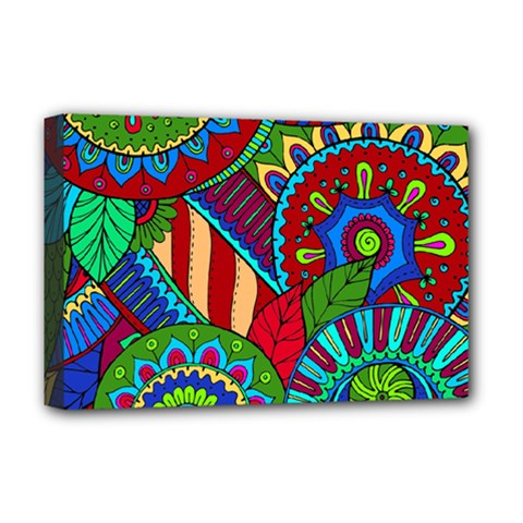 Pop Art Paisley Flowers Ornaments Multicolored 2 Deluxe Canvas 18  X 12   by EDDArt