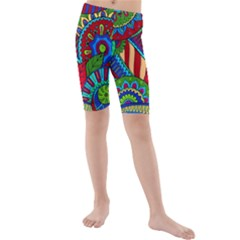 Pop Art Paisley Flowers Ornaments Multicolored 2 Kids  Mid Length Swim Shorts by EDDArt