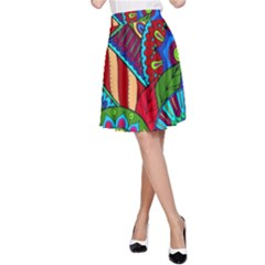 Pop Art Paisley Flowers Ornaments Multicolored 2 A Line Skirt by EDDArt