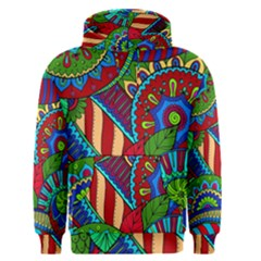 Pop Art Paisley Flowers Ornaments Multicolored 2 Men s Pullover Hoodie by EDDArt