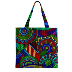 Pop Art Paisley Flowers Ornaments Multicolored 2 Zipper Grocery Tote Bag by EDDArt