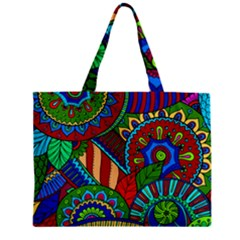 Pop Art Paisley Flowers Ornaments Multicolored 2 Zipper Mini Tote Bag by EDDArt