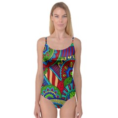 Pop Art Paisley Flowers Ornaments Multicolored 2 Camisole Leotard  by EDDArt