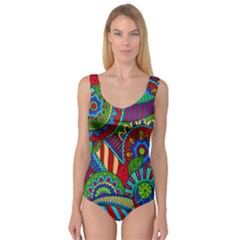 Pop Art Paisley Flowers Ornaments Multicolored 2 Princess Tank Leotard  by EDDArt