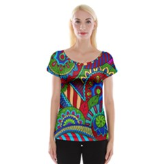 Pop Art Paisley Flowers Ornaments Multicolored 2 Cap Sleeve Tops by EDDArt