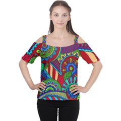 Pop Art Paisley Flowers Ornaments Multicolored 2 Cutout Shoulder Tee by EDDArt