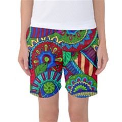 Pop Art Paisley Flowers Ornaments Multicolored 2 Women s Basketball Shorts by EDDArt