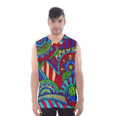 Pop Art Paisley Flowers Ornaments Multicolored 2 Men s Basketball Tank Top by EDDArt