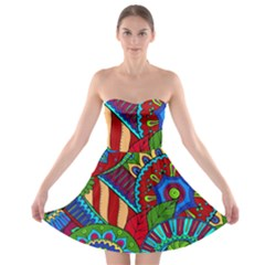 Pop Art Paisley Flowers Ornaments Multicolored 2 Strapless Bra Top Dress by EDDArt